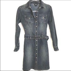 Mode International Denim Shirt Dress Snap Front